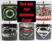 Superhero Flask Set of Five- PICK ANY Five Superhero Flasks
