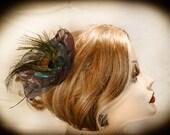 """New Hair Clip  Cerulean Blue & Orchid Organza Peacock Hair Clip  """"Jenn"""""""