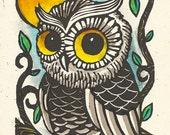 ORIGINAL watercolor Seattle Washington Crete Rain Painting Brandon Stewart OWL koukouvagia greeting card Greek