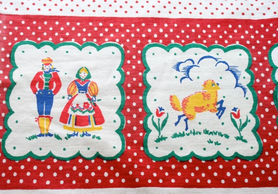 FREE SHIPPING - Vintage Tablecloth, Dutch Themed