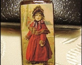 Bamboo Pendant, Vintage Art, Victorian Girl in Red Coat