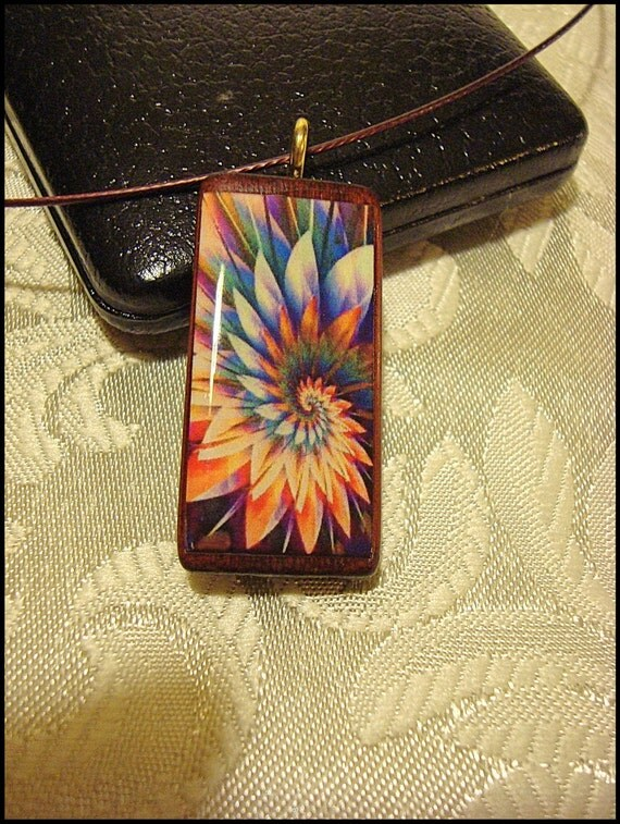 Fractal Necklace ,Pendant, Abstract, bamboo, Spiral, multicolored