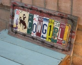 Cowgirl vintage license plate and barbed wire sign