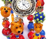 Artist Gold Wrap Watch -The Three Bears- Whimsical, Unique Design,