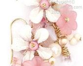 Cluster Flower Earrings -Shabby Chique- 24k Vermeil Gold, pink, Cream