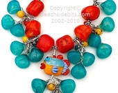 SPLASH, Chalcedony Fishy Necklace, Fun, Fishy, Orange Coral Turquoise,.925 SS, Australian Made