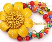 Vermeil Gold lampwork and Leather necklace, SUNSHINE,  Whimsical, Tropical Flower brooch
