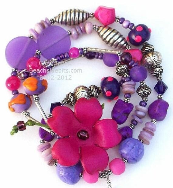 PETUNIA, Artist Eyeglass Necklace, Leather Flower, Purple and Pink, Australian Made