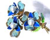 Vintage Floral Enamaled Brass Brooch And Earrings