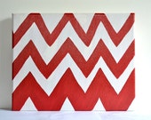 Chevron Red , Original Art on Stretched Canvas , 8 x 10