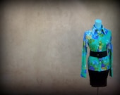Stop and Wear the Flowers Vintage Turquoise Floral shirt