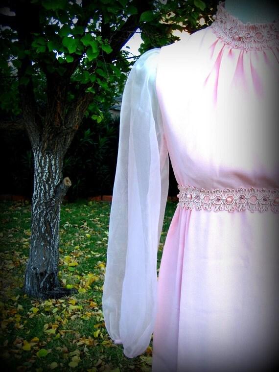 Vintage Pink Chiffon Empire Waist Dainty Girlie Dress