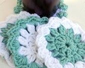 Sage and white Crochet Coasters/Doilies for spring, Set of 4