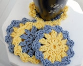Corn flower blue Crochet Coasters/Doilies for spring, Set of 4