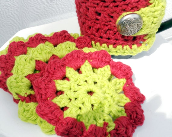 Crab apple Crochet Coasters/Doilies for spring, Set of 4
