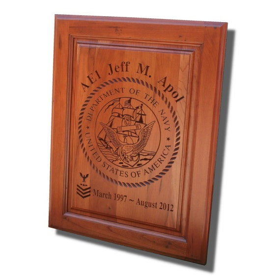 Military SIGN, Custom Engraved, Carved Wooden Sign, Military Retirement Plaque, US Navy, Upcycled Cabinet Door V5