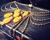 Amber and Antique Bronze Layered Necklace - The Sleeper