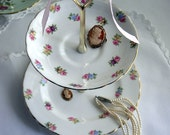 Jewelry / 2 tier cake stand / bathroom display - Tuscan vintage English bone china