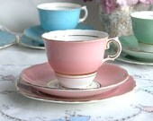 Vintage English bone china tea set - baby pink Colclough cup, saucer and plate for a vintage tea party