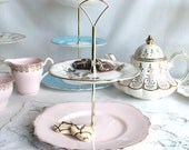 Dreamy pink 2 tier cake / cupcake stand: vintage English bone china upcycled to create a unique tiered cake pedestal