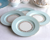 Set of 4 vintage bone china plates, lovely for a vintage tea party, 22 kt gold detailing with pale blue band