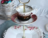 Striking 2 tier cakestand/cupcake stand: Mad black hatter tea party centerpiece made from upcycled English bone china