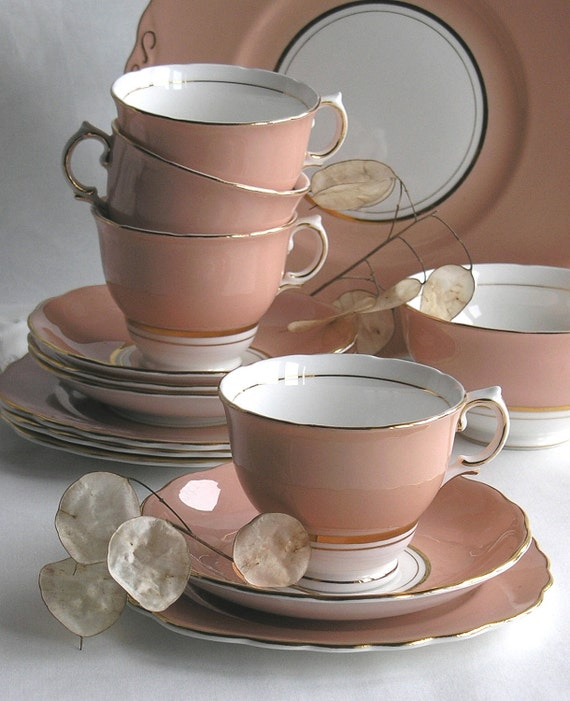 Vintage English Colclough china tea cup, saucer and plate: salmon pink bone china - lovely tea set for a vintage tea party