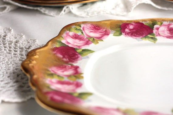 Royal Albert Old English Rose cake plate: vibrant summer roses with luxuriant gold edge - a piece of early 1930s history