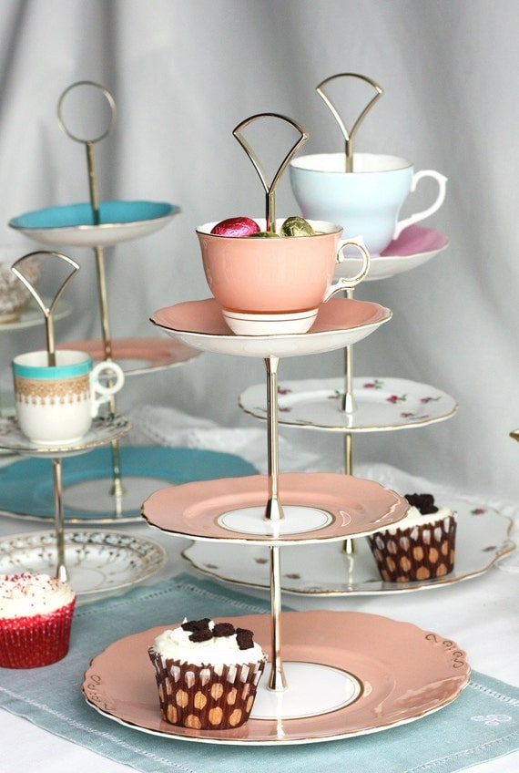 3 tier cake stand / fantasy cupcake display: stunning salmon pink Colclough tiered cake display  - repurposed vintage English bone china
