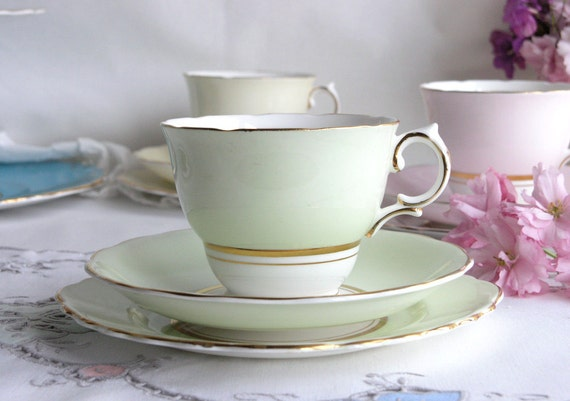 English bone china tea set in mint green: vintage Colclough cup, saucer, plate perfect for a wedding or summer tea party