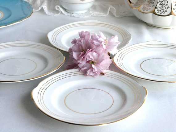 RESERVED FOR SHEILA Vintage side plates: set of 4 Duchess fine bone china plates, white and gold, perfect for a vintage wedding