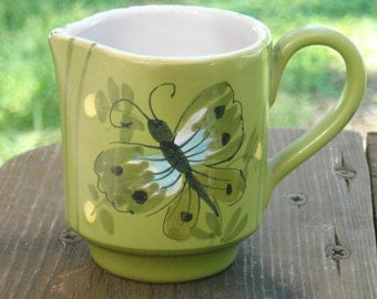 VERY CUTE SmALL  Green Pitcher with Butterfly