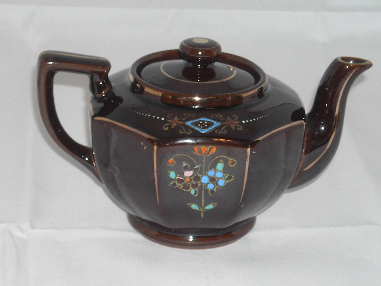 retro brown teapot made in japan. Black Bedroom Furniture Sets. Home Design Ideas