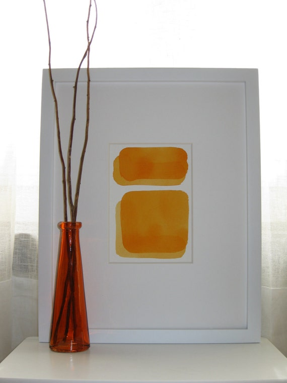 "Watercolor Painting Orange Abstract Original Art 5x7 ""Delancey"""