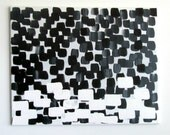 """No. 6 - Modern Abstract Painting on canvas - 16"""" x 20"""" - Dots (Black and white)"""