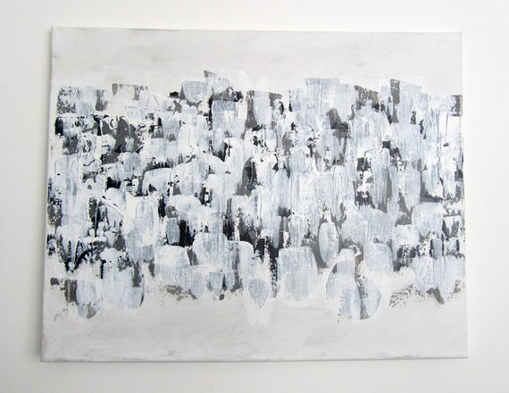 """No. 46 - Modern Abstract Painting - 16"""" x 20"""" on regular 3/4"""" depth canvas - (White, black and grey)"""