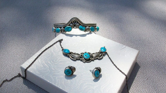 3 Piece Native American Silver & Turquoise Necklace, Bracelet ,Earring Set