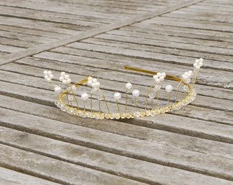 Gold Pearl and Crystal Style Flower Garden Bridal Tiara