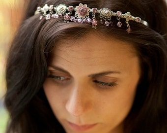 Pink Princess Tiara for Bride or Bridesmaid - recycled jewellery