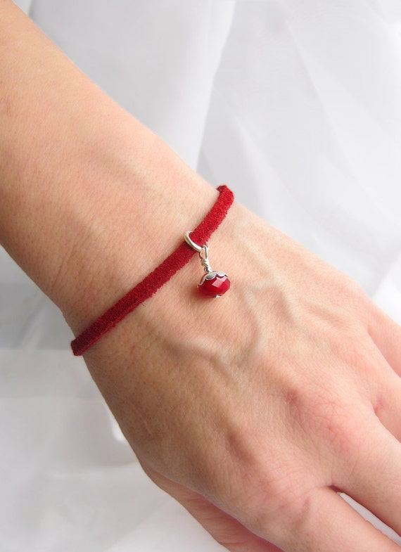 Reserved Red Leather Charm Bracelet in Soft Suede for Katie Seeds