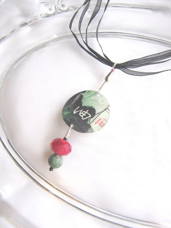 Asian Style Necklace with Gemtones - Recycled Soda Can