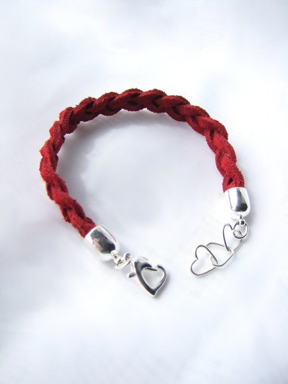 Red Braided Leather Bracelet with Hearts