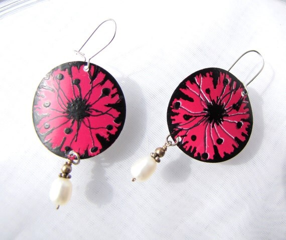 Handpainted Earrings Pink and Black Poppies Recycled Soda Cans