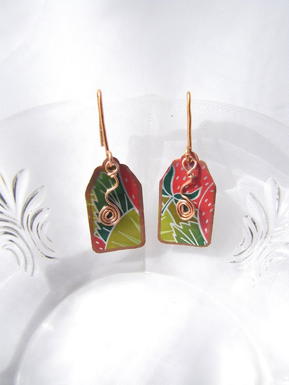 Margarita Tag Earrings Handmade from Recycled Copper and Soda Cans