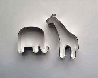 Primitive Elephant and Giraffe Cookie Cutter