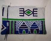 Blue and green clutch