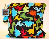 Wet Bag or Eco-Bag with Snap Handle - Waterproof - Urban Zoologie Collection - Dinos