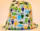 Wet Bag or Eco-Bag with Drawstring/Backpack Style - Waterproof - Urban Zoologie Collection - Owls Royal