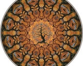Crow Circle Tree, Botanical Mandala Matted Print
