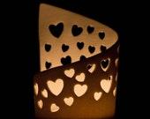 Translucent Pierced Porcelain Hearts Tea Light Candle Holder